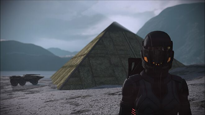 Shepard stood in front of a prothean pyramid on a random planet. The Mako is also there.