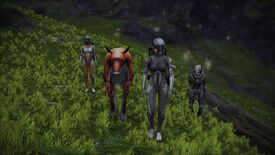 My new Mass Effect squad feat. Liara, Garrus and a shifty-looking cow.