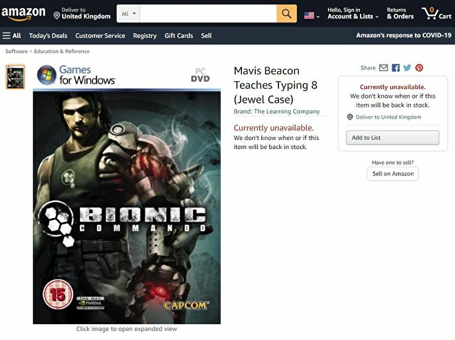 An Amazon listing for Mavis Beacon Teaches Typing 8, which actually shows the box for Bionic Commando.