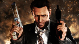 Max Payne 3 - Max Payne holding two pistols and standing in front of an explosion.
