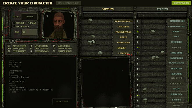 The character creator screen for Mechajammer