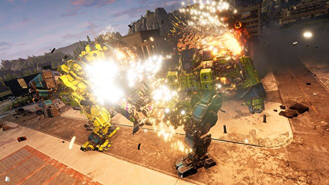 A mech punching another mech, there are lots of explosions.