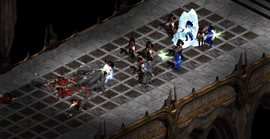 A screenshot of Median XL, a Diablo 2 mod, showing the player surrounded by enemies on a grey bridge.