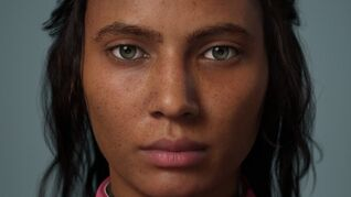A still image showing a close-up of a female character's face from MetaHuman creator. The person is staring blankly forward. They have loose hair and freckles.
