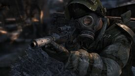 A screenshot from Metro 2033 depicting a man in a gas mask wielding a gun facing towards the camera at a short distance.