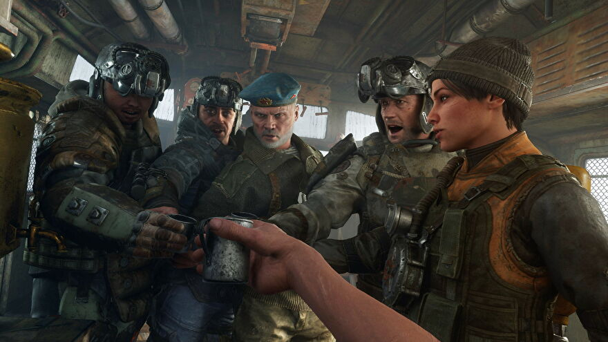 Metro Exodus characters clinking drinks on the train