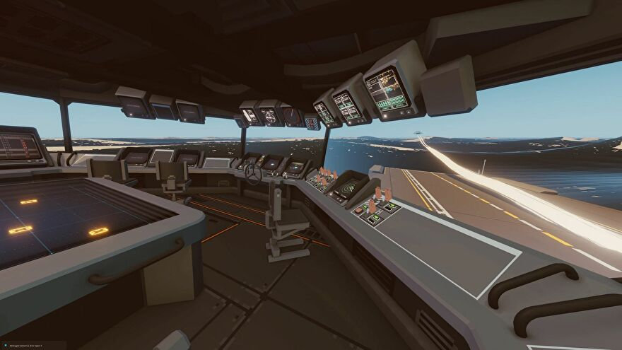 The interior of a flight command deck in Carrier Command 2