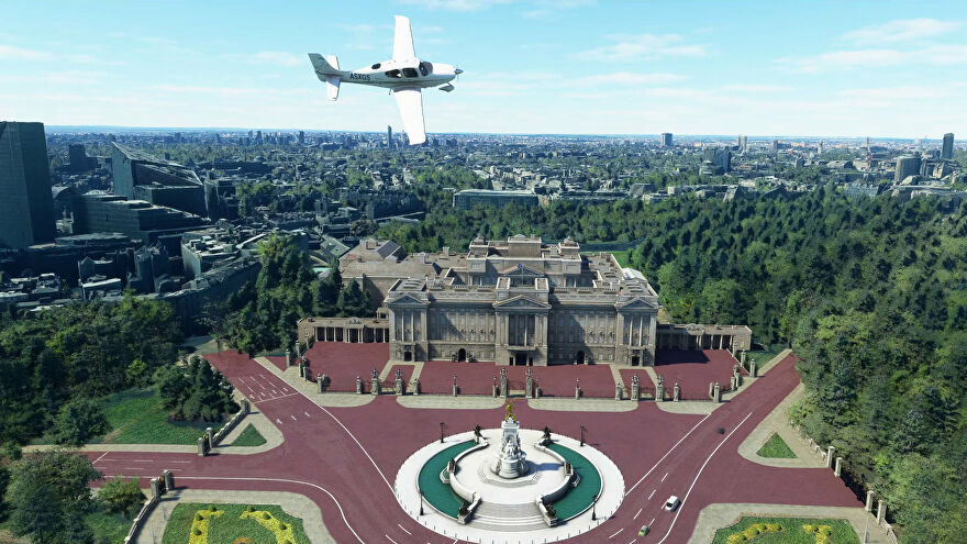 The new handcrafted Buckingham Palace in Microsoft Flight Simulator, thanks to World Update 3.