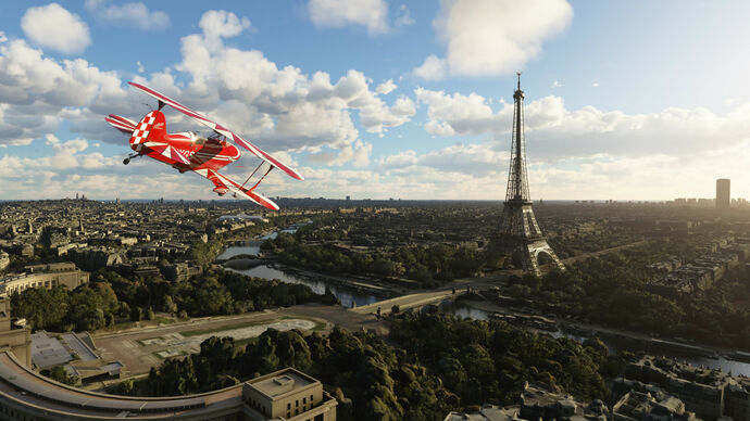 A screenshot of Microsoft Flight Simulator, showing Paris, France after the polish of World Update 4 has been applied.