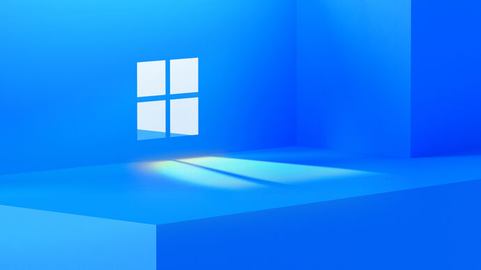 A picture of a window in a blue room.