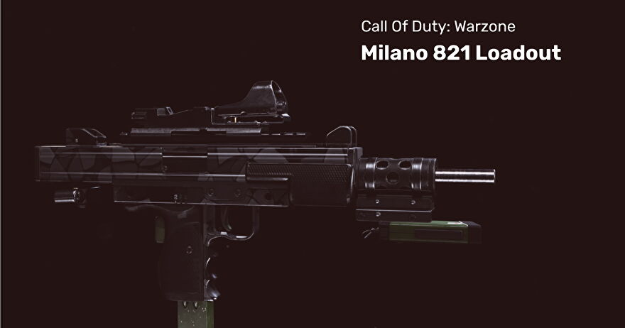 A milano 821 gun in Warzone on a black background.