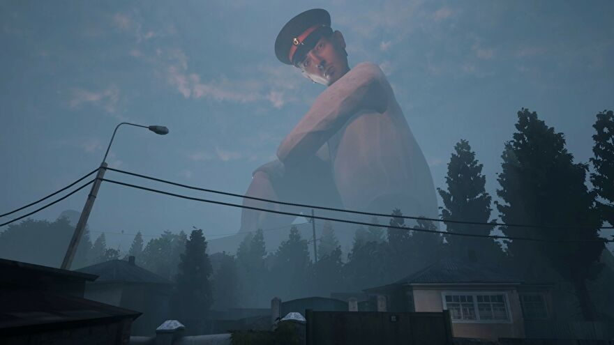 A giant policeman looms over a town in a screenshot from Militsioner.