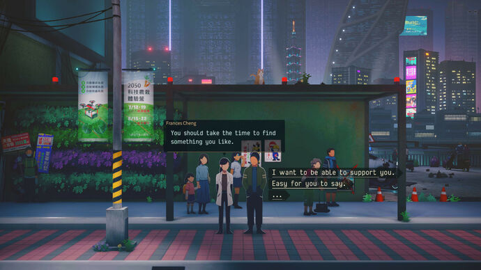 A couple wait for a bus in a futuristic city in Minds Beneath Us.