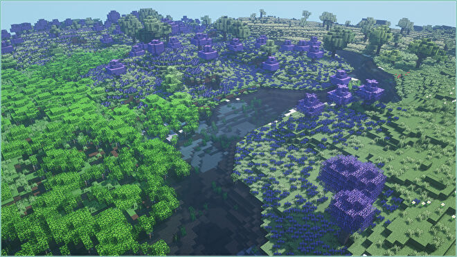 A Minecraft screenshot of multiple biomes added by the Biomes O' Plenty mod.
