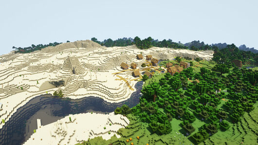 A Minecraft screenshot of a landscape with Complementary Shaders enabled.