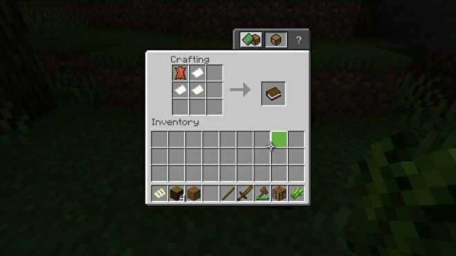 Minecraft making a book at a crafting table using leather and paper