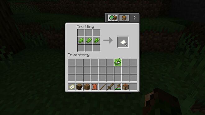 Minecraft making paper at a crafting table using sugar cane