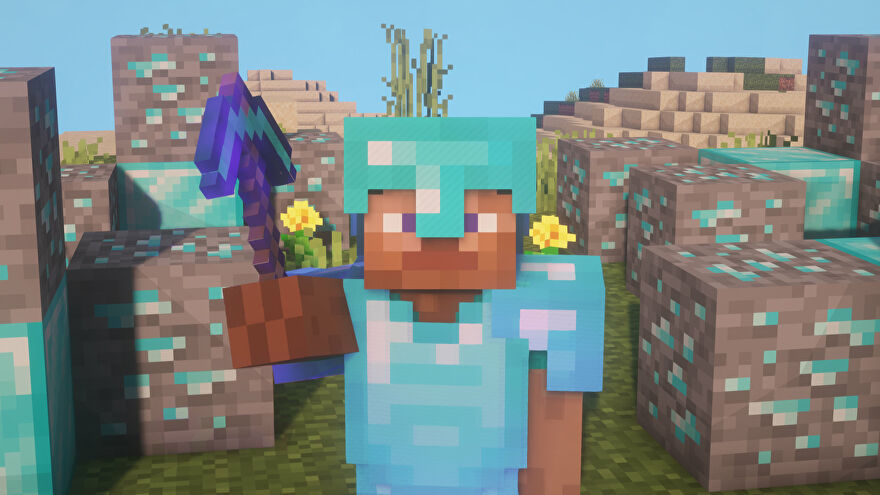 A Minecraft screenshot of a player clad in full enchanted Diamond Armor, surrounded by Diamond Ore and Diamond Blocks.