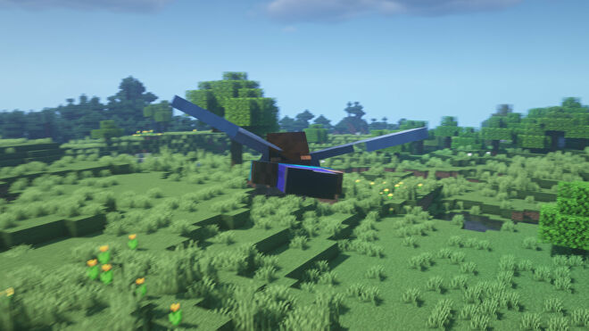 A Minecraft screenshot of the player flying through the air with Elytra.