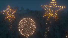 A Minecraft screenshot of a Fireworks display at night.