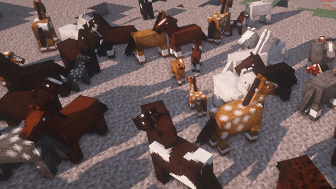 A Minecraft screenshot of many horses of different colours and markings in close proximity on a bed of gravel.