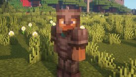 A Minecraft screenshot of a player in full Netherite Armor looking at the camera.