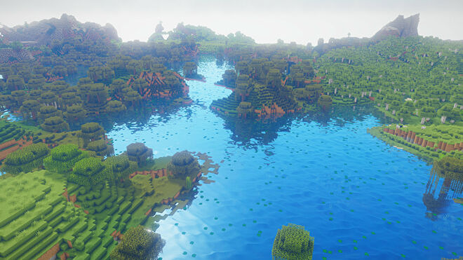 A Minecraft screenshot of a landscape with Oceano Shaders enabled.