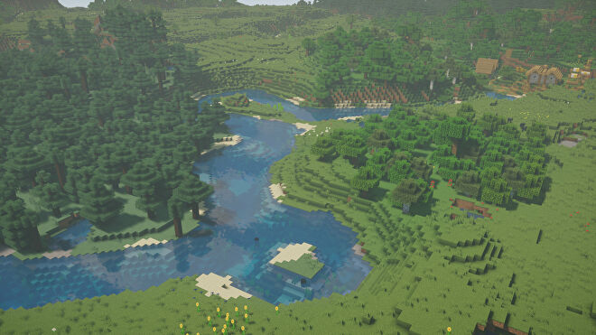 A Minecraft screenshot of a landscape with Nostalgia Shaders enabled.
