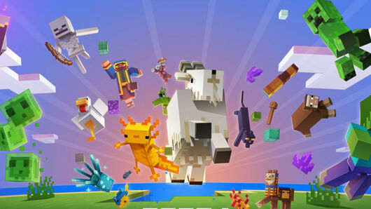 Promotional art for Minecraft 1.17, featuring goats, axolotls, and various other mobs jumping through the air.