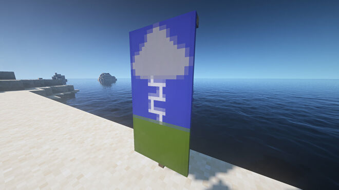 A lightning storm Banner in Minecraft, placed in the ground by the coast.