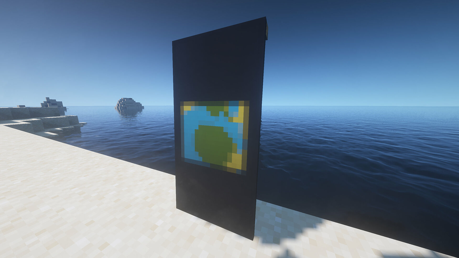 A Nether portal Banner in Minecraft, placed in the ground by the coast.