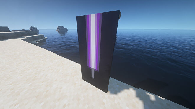 A purple lightsaber Banner in Minecraft, placed in the ground by the coast.