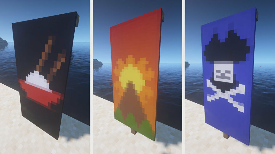 Three Minecraft Banners side-by-side. Left: a bowl of rice. Middle: a mountain landscape. Right: a pirate flag.
