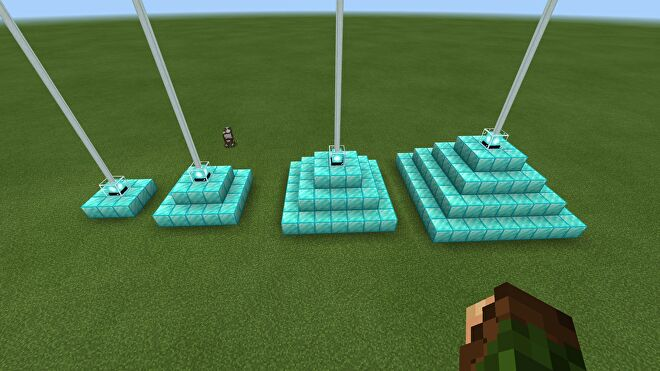 every pyramid size with beacons in Minecraft superflat