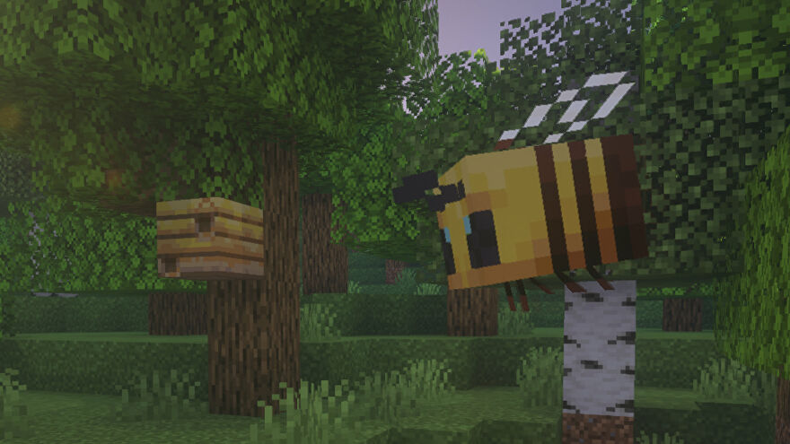 A Minecraft Bee venturing from its Bee Nest on the outskirts of a forest.