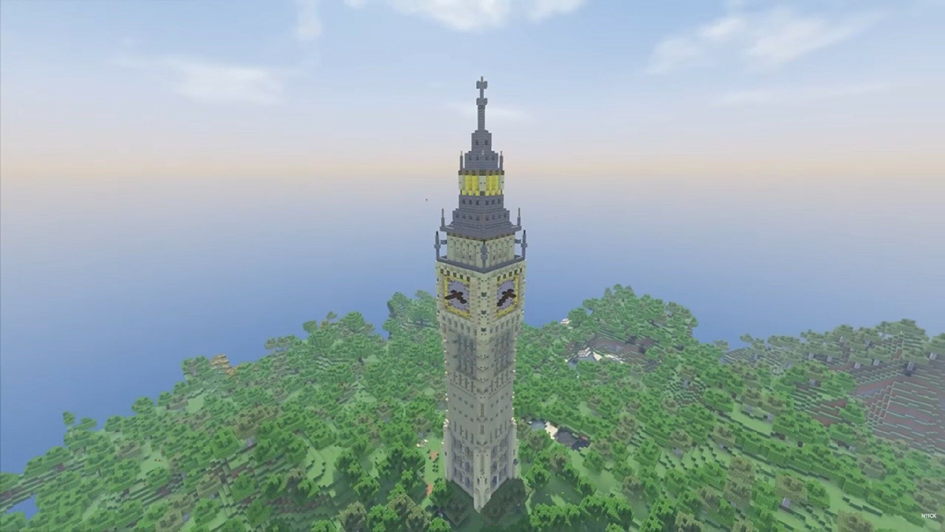 simple tower built using stone and wood towering over a forest in minecraft
