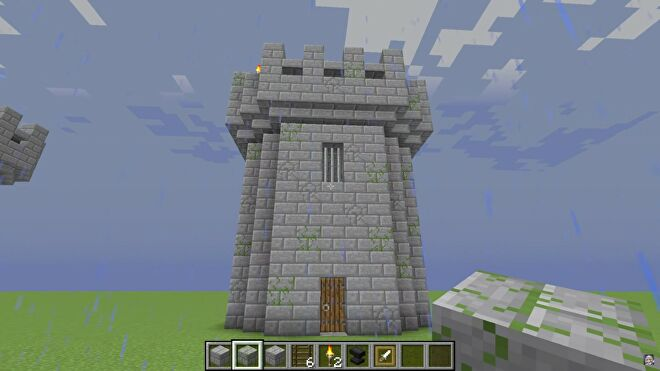 historical castle tower built in minecraft