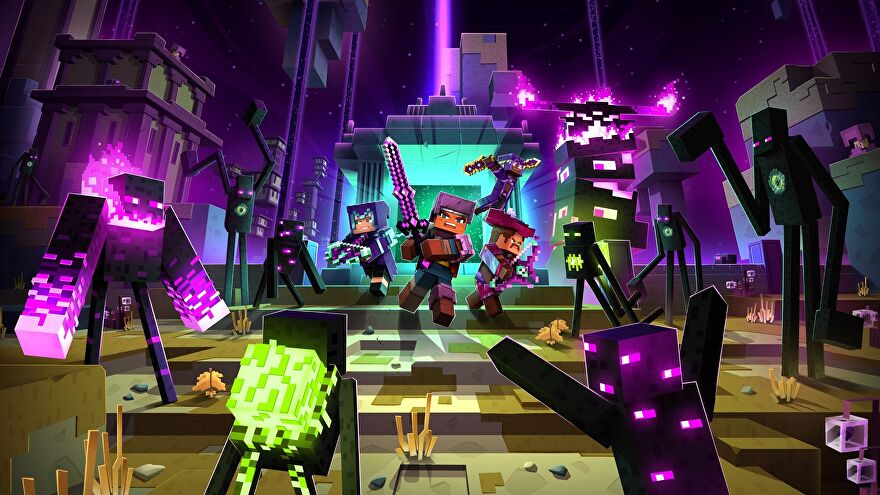 Minecraft Dungeons Echoing Void DLC - Three players in armor and wielding weapons come through an End portal surrounded by Endermen.