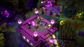 A screenshot of Minecraft Dungeon's Echoing Void DLC showing a topdown view of a blocky platform on which the player is fighting Endermen under purple light.