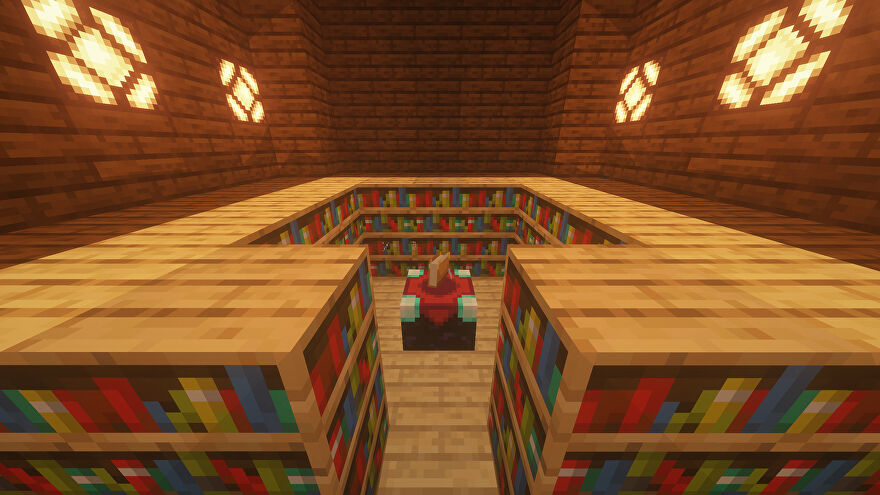 An Enchanting Room in Minecraft, made up of an Enchanting Table surrounded by Bookshelves.