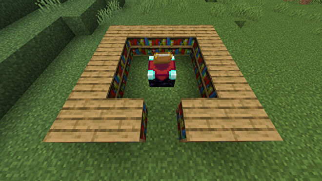 An Enchanting Table in Minecraft, surrounded by 15 Bookshelf blocks.