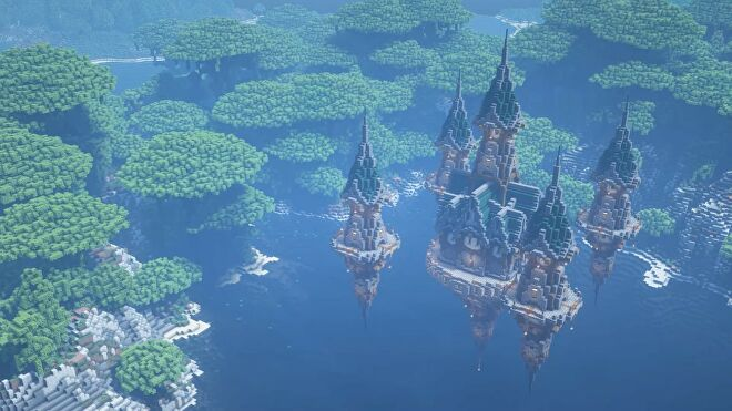 Floating castle built in Minecraft