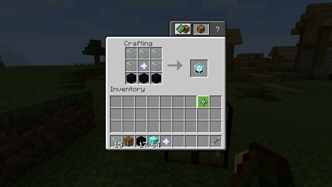 minecraft making a beacon using glass, obsidian, and a nether star in a crafting table