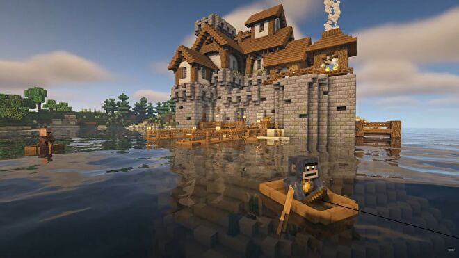 Island fortress built in Minecraft