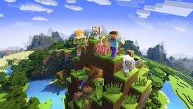 Some Minecraft characters and animals hanging out on a nice pile of dirt blocks.