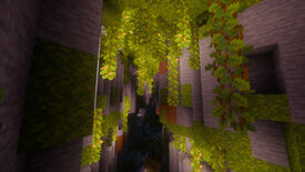 The new Lush Caves biome in Minecraft, replete with moss and vines.