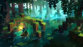 Concept art of characters rowing a boat under the roots of a mangrove tree in Minecraft The Wild update