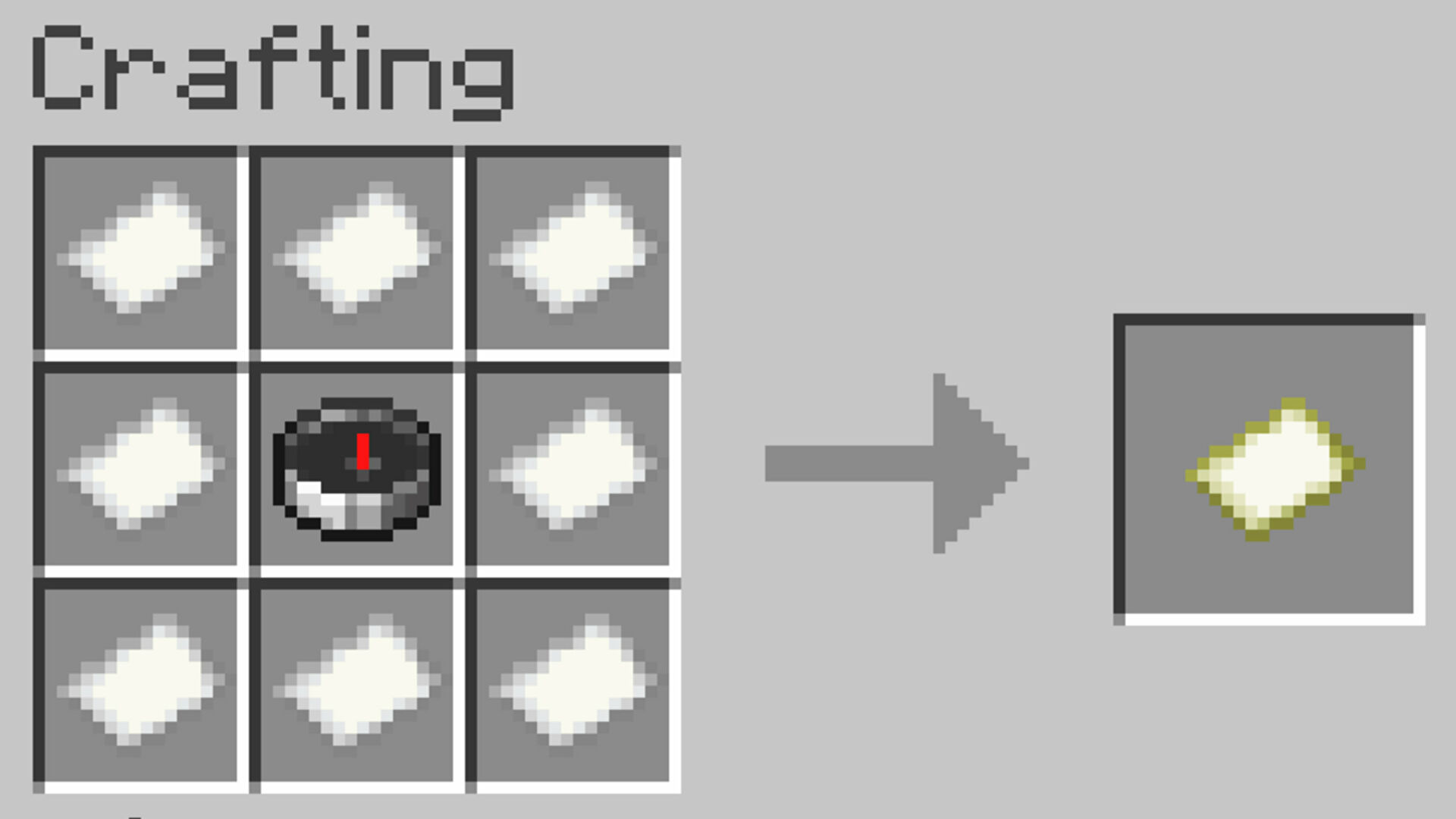 The recipe for creating a Map in Minecraft Java Edition.