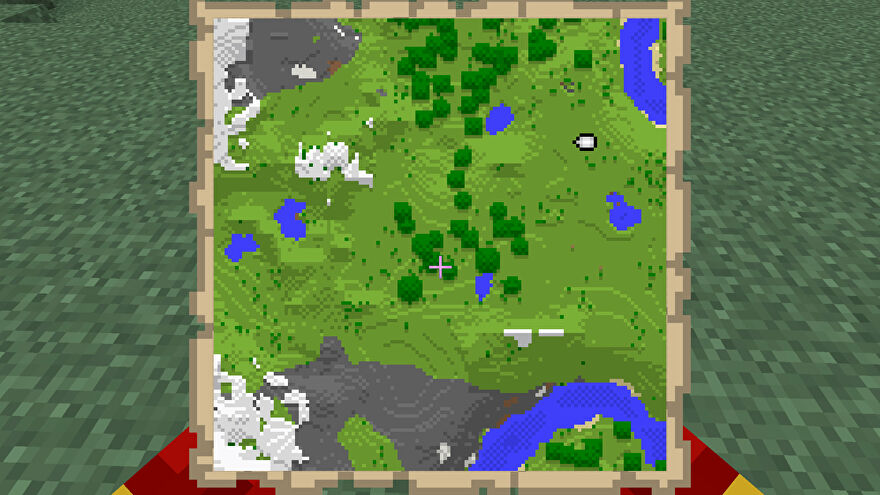 A Minecraft map, with the player location marked by an icon in the top-right corner.
