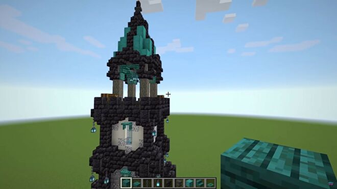 A medieval tower built in Minecraft
